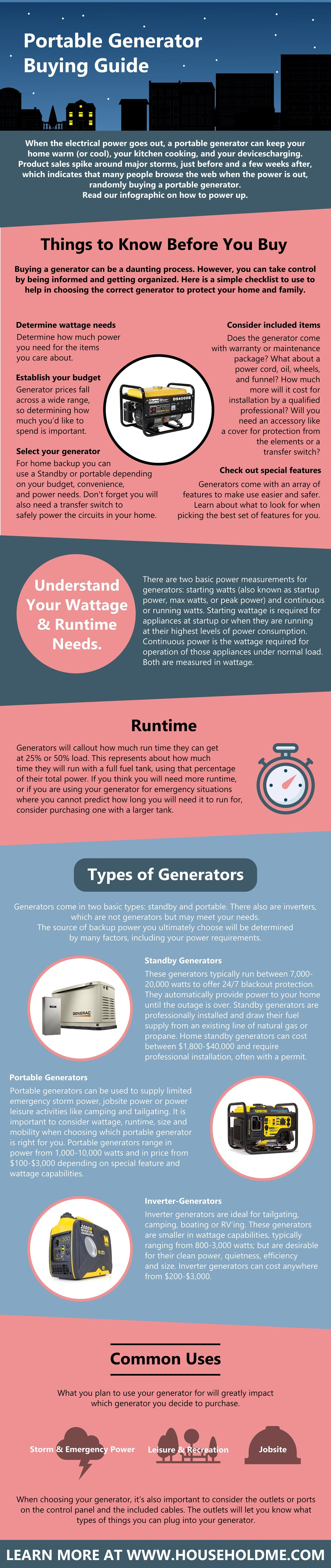 Portable Generator Buying Guide Infographic HouseholdMe