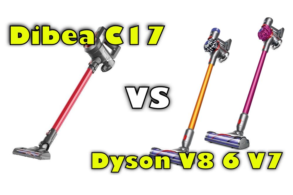 dibea c17 vs dyson v8 v7 stick vacuum comparison. Black Bedroom Furniture Sets. Home Design Ideas